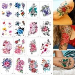 Ideiglenes Tetoválás - vízálló matrica - unisex - 16 féle virág és pillangó mintával