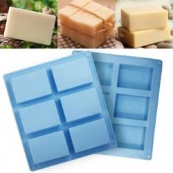 1x 6 üreges téglalap alakú szilikon szappan sütőforma tálca DIY kézműves fürdőszobai szappankészítés