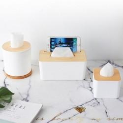 1x Otthoni konyha fa műanyag szövetes doboz tömör fa szalvéta papír tartó