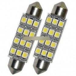 2db autós kupola 12 3528-SMD LED izzó fény belső festoon lámpa 42mm fehér Nagy