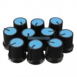 10db fekete fogantyú kék arcú műanyag forgatógombos potenciométer 6 mm-es lyukkal Új