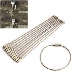 10db rozsdamentes acélból készült EDC repülőgépkábel vezetékes kulcstartó gyűrű csavaros rögzítése