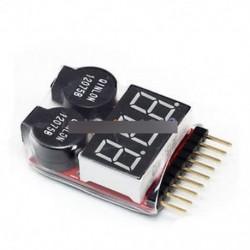 1-8S Akkumulátor feszültség 2IN1 Tester Alacsony feszültségű zümmögő riasztás