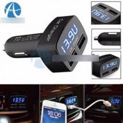 4 In 1 Dual USB autós töltő adapter feszültség DC 5V 3.1A tesztelő iPhone Tablet