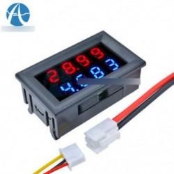4-bites DC 0-200V 10A feszültségmérő mérőműszer kék   piros LED-es erősítő kettős feszültségű mérőműszer