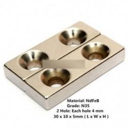 5PCS N35 blokk 2 lyuk hűtőszekrény mágnes Rögzített ritka föld neodímium 30x10x5mm