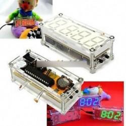 Piros - Piros / kék / zöld DIY készlet LED elektronikus óra mikrokontroller Idő hőmérő