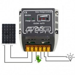20A 12V / 24V napelemes töltővezérlő akkumulátor szabályozó biztonságos védelme Új