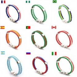 PU műbőr szövés labdarúgó karkötő Nemzeti zászló nyomtatás Szuvenír 19 ország brazil, spanyol, olasz stb