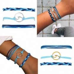 3 db / készlet Többrétegű hullám karkötő szett női divat lánc varázs karkötő állítható lányoknak barkács