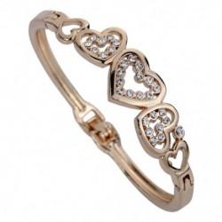 Fényes, elegáns  szív alakú strasszos karkötő arany színű ötvözet női ékszer ajándék