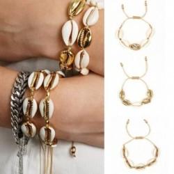 Divat Charm arany színű fém természetes kagyló kézzel szőtt karkötő női kiegészítők gyöngyös szál