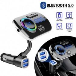Autós Bluetooth vezeték nélküli 5.0 FM adóadó MP3rádió adapter Autós kihangosító hívókészlet 2 USBtöltő LEDes