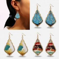 Női klasszikus bohémia etnikai stílusú retro PU divat kagyló alakú fülbevaló ékszer ajándék