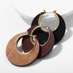 Női klasszikusok Fametszetű Retro Egyszerű kör divat Geometriai kerek fülbevaló Egyszínű ékszer ajándék