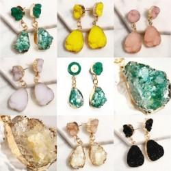 Női bohém zöld Druzy fülbevaló női nagy gyanta kő csillár