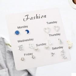 7 pár finom divatos koreai strasszos fülbevaló készlet egy hetes fülbevaló ajándék brincos