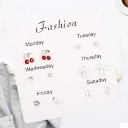 6 pár finom divatos koreai strasszos fülbevaló készlet egy hetes fülbevaló ajándék brincos