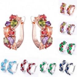 Luxus többszínű fényes CZ cirkon fülbevaló strasszos fülbevaló elegáns divat ékszer