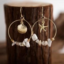 Vintage ötvözött tengeri kagyló tengeri csillag kócos fülbevaló kerek kört köves gyöngyökkel fülbevalókal