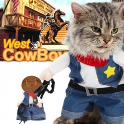 Vicces macska ruházat Jean Suit ruha macska jelmez ruházathoz Cowboy ruházat öltözködés macska party jelmez ruha