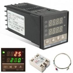 Digitális 110-240V 220V AC PID REX-C100 Hőmérséklet-szabályozó max.40A SSR K hőelem érzékelővel