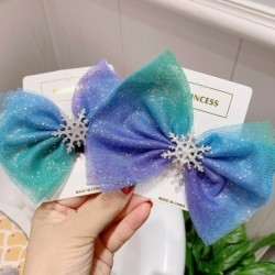 Karácsonyi hópehely haj kiegészítők Kristály haj klipek Téli nyakkendők Lányok hajtűk kék Scrunchies