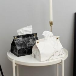 PU bőr szövet doboz tartó konténeres tok márvány mintás szövetek doboz otthoni autó szalvéta papír törülközőt tok