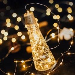 2M koszorú dekoratív könnyű rézhuzal CR2032 akkumulátorral működtetett karácsonyi esküvői dekoráció LED szalag