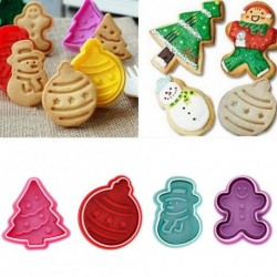 4db-os szett - Karácsonyi mintás - Hóember - Karácsonyfa - Gömbdísz - Mézeskalács alakú sütemény formázó