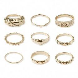 9 db / készlet Luxus  ötvözet gyűrű Retro eltúlzott elegáns elegáns arany közös szabálytalan gyűrű