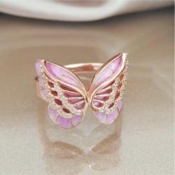 Vintage rózsa arany szín luxus rózsaszín pillangó cirkon gyűrűvel töltött esküvői gyűrűk női divat ékszer