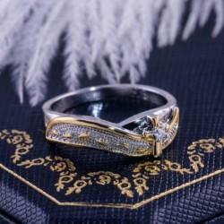 Kreatív matt lábnyomok kereszt gyűrű arany ezüst kétszínű esküvői gyűrűk női  lányok ékszerei