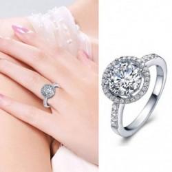 Fényes Halo kerek vágású női esküvői divat gyűrű cirkóni ékszer ajándék mérete 511