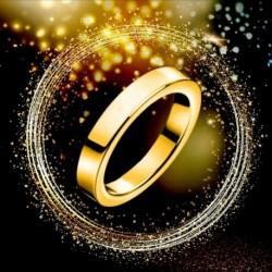 Titán acél 3 mmes gyűrűs női férfi eljegyzési esküvői gyűrű arany