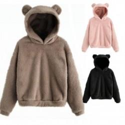 Női őszi téli szép kapucnis pulóverek, medve fülekkel, női, szilárd, gyapjú pulóverek, hölgy preppy alkalmi