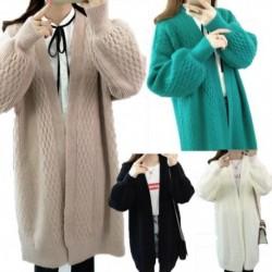 Női őszi téli Vnyakú pulóver kabát Lady laza lámpa ujjú nyitott öltés kardigán női kötött kabát