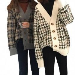 Női Preppy stílusú vastag pulóverek Lady alkalmi kötésű dzsekik Nagy gombokkal kardigán