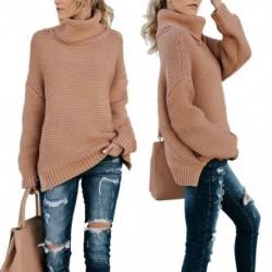 Női Casual / hétköznapi, Őszi TéliKék pulóver, Hölgy, Meleg, Túlméretezett, Egyszínű, kötött pulóverek, Hosszú