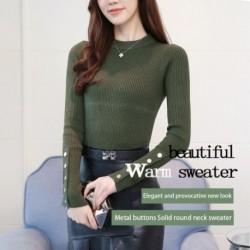 Új tavaszi őszi női kötött hosszú ujjú pólóval felső hölgy szexi vékony irodai gomb alkalmi pulóverek