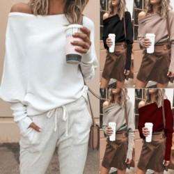 Női vállpóló blúz, laza felsők túlméretezett pulóver