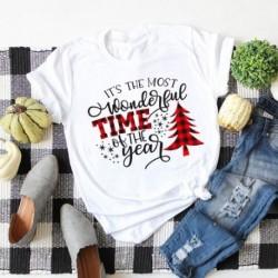 Női vicces nyomtatott fa ing Lady Christmas kerek gallér felső blúz