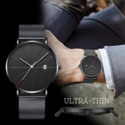 Férfi divat vékony óra, elegáns, egyszerű üzleti életű, vízálló kvarcóra