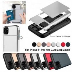 IPhone 11 Pro Max tok, kártyafoglalat, nyílásvédő, leszerelhető, ütésálló vékony borító