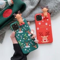 Boldog karácsonyt párok telefon tok iPhone 11 Pro Max karikatúra hóemberhez és szarvas puha hátlap