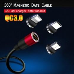 Mágneses USB-kábel iPhone / Micro USB-hez és C 3A típusú gyors töltő adatkábel QC3.0  Huawei Xiaomi iPhone