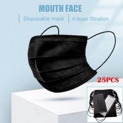 25 db szájmaszk eldobható négyrétegű szájmaszk nemszőtt maszk porvédő maszk aktivált páramentesítés maszk fekete