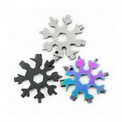 18 az egyben hópehely alakú több eszközű csavarkulcs-kombináció kompakt, hordozható hópehely kulcstartó eszközök