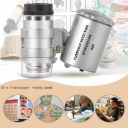 Hordozható Mini 60X mikroszkóp LED-es lámpa nagyítóval, UV-fény ékszerekkel, azonosíthatja a zseb-lupp karbantartó