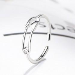 Divat minimalista kreatív gemkapocs alakú cirkon nyitott gyűrűs női ékszer ajándék